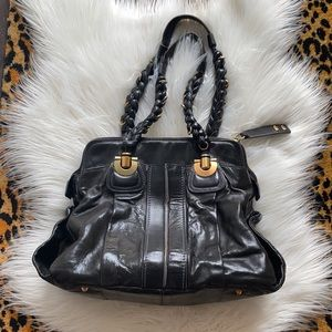 Chloe Large Heloise Calfskin Black leather handbag